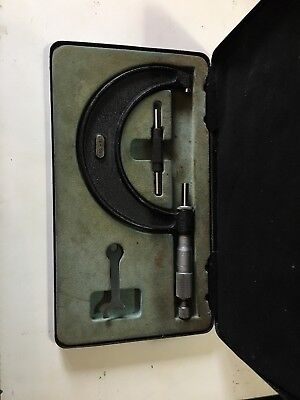 MOORE AND WRIGHT 75-100mm MICROMETER M&W METRIC WITH SPANNER, SETTING BAR, CASE