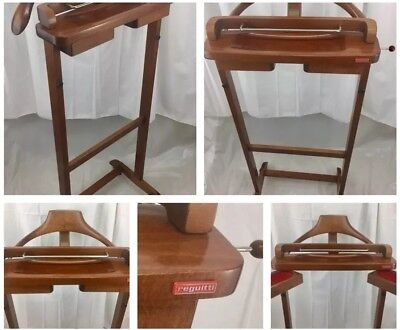 Vintage FRATELLI REGUITTI Wooden Valet Butler Suit Rack Made In Italy