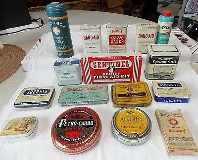 Auction Lot 15 Vintage Metal Medical Tins - swap meet ready