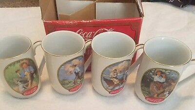 Vintage 1987 Coca-Cola Norman Rockwell & N.C. Wyeth Collector Mugs