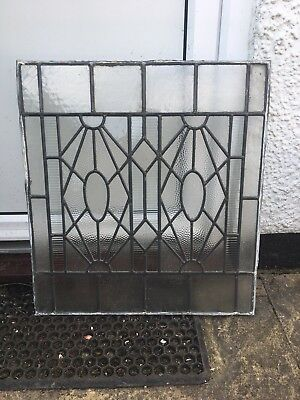 Vintage original Art Deco Individual Leaded Frosted Glass Panels