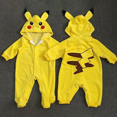 Newborn Baby Boys Girls Outfit Jumpsuit Cartoon Pokemon Pikachu Playsuit Clothes