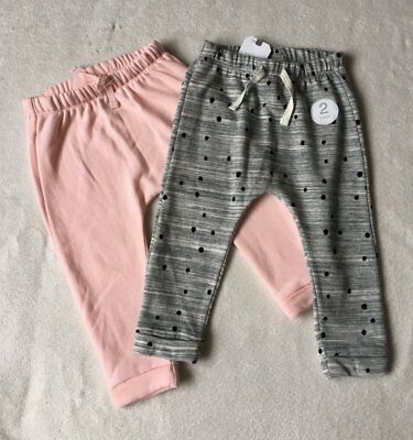 ***BNWT Next baby girl Pink/Grey spotty slim joggers 2 pack set 12-18 months***