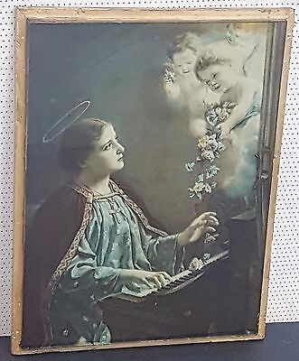 Antique Reverse Painted Religious Glass Panel