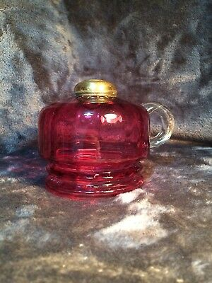 Vintage / Antique Cranberry Glass and Brass Oil Lamp Base