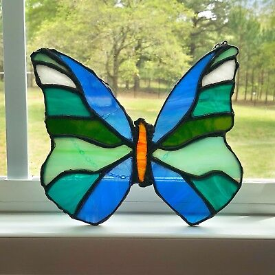 Vintage Leaded Stained Glass Butterfly Blues & Greens 7 X 7