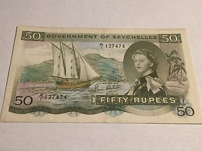 1972 QEII GOVERNMENT OF SEYCHELLES 50 RUPEES P17d NOTE (RARE YEAR) !!