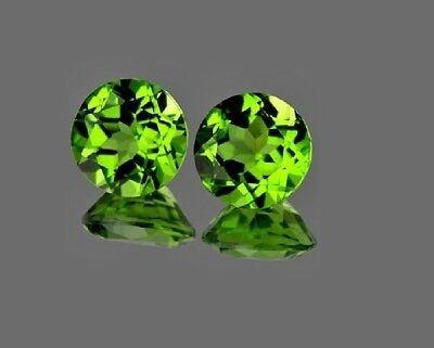 2.95 Ct. Matched Pair 7mm Round Top Pakistani Faceted Rich Green Peridot VS AAA