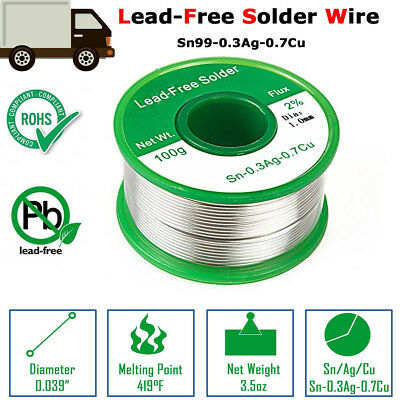 Lead Free Soldering Welding Cord Wire with OD 1mm  Rosin Sn99 0.3Ag Cu0.7 100g