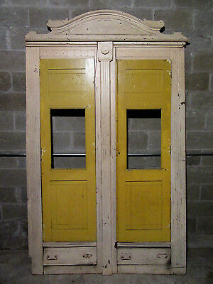 ANTIQUE CARVED WALNUT CLOSET FRONT ~ BUILT IN ARMOIRE ~ 63 x 103~ SALVAGE
