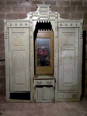 Antique Carved Walnut Closet Front~ Built In Armoire~ 84 X 104~ Salvage