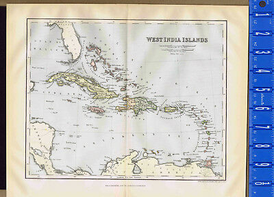 West India Islands - 1893 Antique Color Map Print - CLEARANCE ITEM