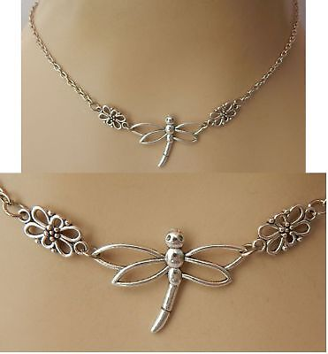 Dragonfly Necklace Silver Pendant Jewelry Handmade NEW Chain Adjustable Women
