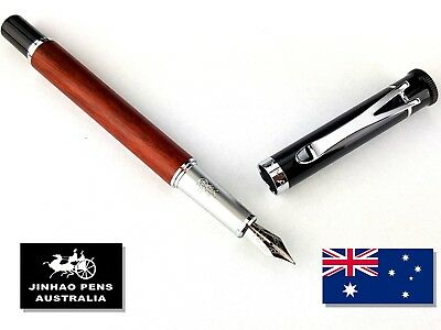 JINHAO Y3 Rose Wood Fountain Pen, Fine Nib plus 5 Free Black Cartridges
