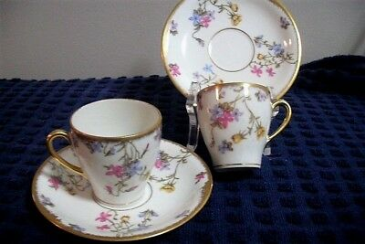 Pair Limoges Elite Pompadour Violet Expresso Sized Cup & Saucer FREE SHIPPING
