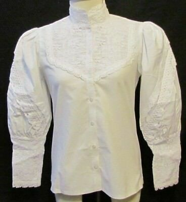 VICTORIAN STYLED, HIGH NECK, WHITE LACE WITH EMBR BLOUSE by RECOLLECTIONS size S