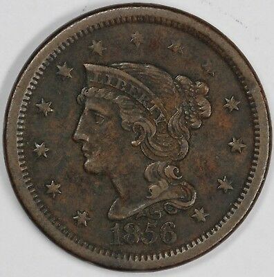 1856 1c Italic Five Braided Hair Large Cent UNSLABBED