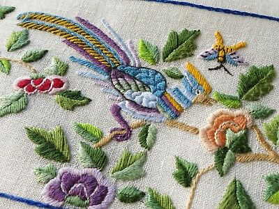 BIRDS FLOWERS BEES Antique Chinese Hand Embroidery Small Linen Tablecloth