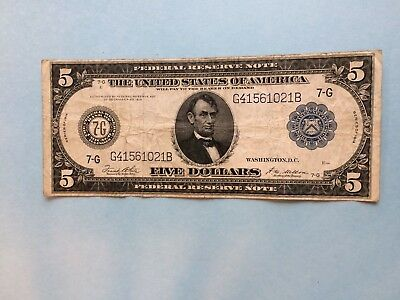1914 Five Dollar $5 Large Size Federal Reserve Note (Blue Seal)