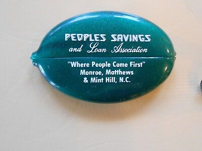 Vintage Rubber SQUEEZE Open Pocket Coin / Change Holder - Peoples S & L NC