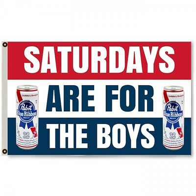 Saturdays are for the boys blue ribbon Flag 3 X 5' Deluxe Indoor Outdoor Banner