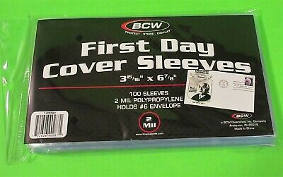 100 First Day Cover Poly Sleeves, For #6 Covers, 2 Mil Crystal Clear - Bcw Brand