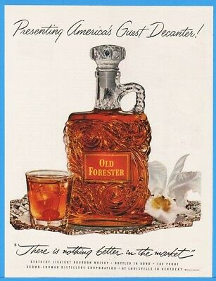 1953 Old Forester Brown Forman Louisville KY Guest Decanter Cocktail Orchid Ad
