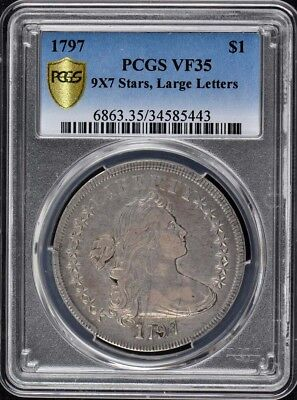 1797 $1 9X7 Large Letters Draped Bust Dollar PCGS VF35