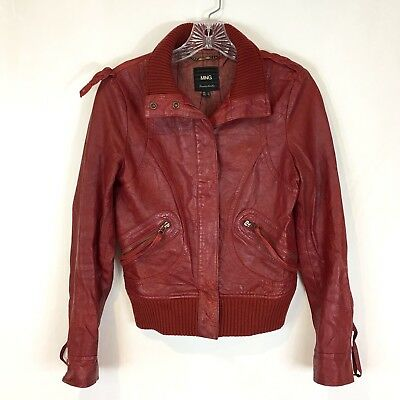 Mng By Mango Womens Xs Red Distressed Genuine Leather Jacket Bomber