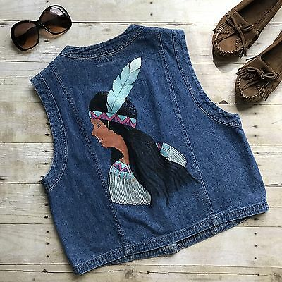 90s Fashion Women's Jean Vest Denim Coachella Hippie Festival Gypsy Boho