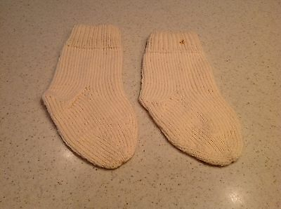 Early To Mid Century Beige Socks Handmade Yarn Nice Condition No Holes
