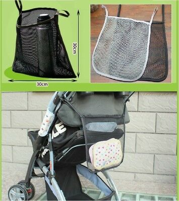 Wheel chair Baby Stroller Pram Mesh Carry Hanging Net Bag Organiser Black / Grey