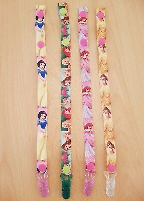 Set Of 4 Disney Princess Soother Clips Pacifier Holders Dummy Chains Toy Straps