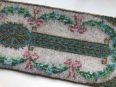 Beautiful Antique Vintage Victorian Or Edwardian Glass Beadwork Panel Applique