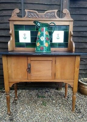 Edwardian washstand, with tiled back and slate top.