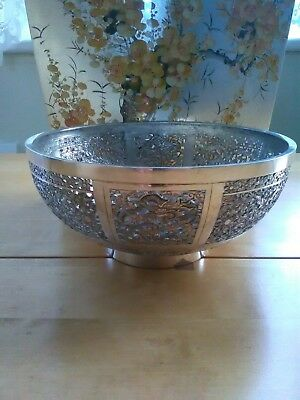 Hallmarked Solid Silver 19th Century Chinese Bowl-230gr-