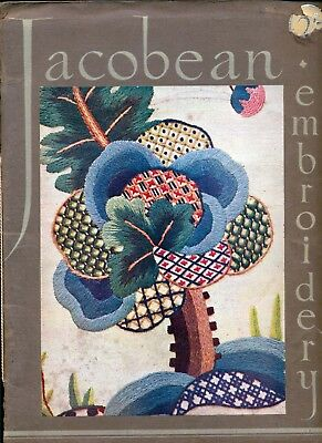 JACOBEAN CREWEL WORK EMBROIDERY BY PENELOPE COLOUR PLATES VINTAGE-1930's