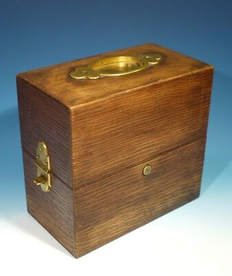 Superb Late 19th Century Antique Oak Decanter Box with Gilded Brass Fittings.