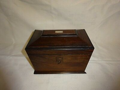 Antique 19Th Century Rosewood Sarcophagus Tea Caddy For Restoration Working Key