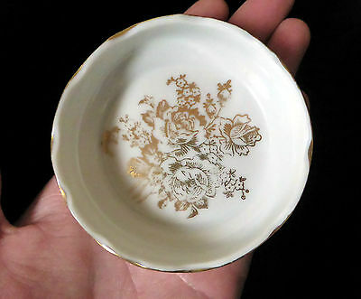 "FRANCE 3"" French Porcelain gold FLORAL PIN DISH JEWELLERY DISH figurine ornament"