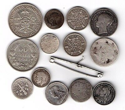 Collection of 14 Silver Metal Detecting Finds with George III & Victorian Coins