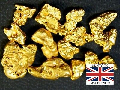 Gold Nuggets 5x High Purity 21-23kt Pure Genuine Alaskan Approx 0.5 -1.5mm UK