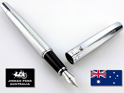 JINHAO 605 Embossed Silver Fountain Pen Fine Nib + 5 Black Ink Cartridges