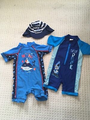2 X Baby Boys 12-18 Month Swim Suits And Hat