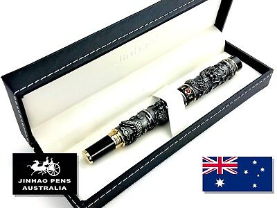 JINHAO 999 Pewter Dragon Fountain Pen Medium Nib in Gift Box + 5 Cartridges