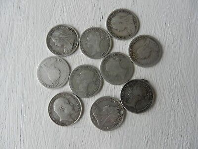 9 Silver Threepence Coins Various Dates