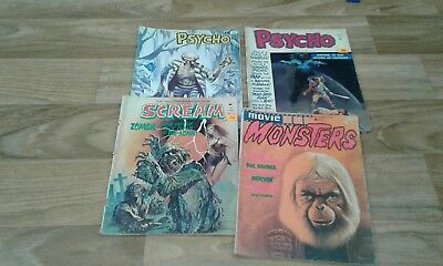 Bundle of  original American and british horror magazines,sream,psycho ect.1973