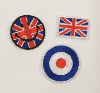 SMALL BRITISH FLAG TARGET UK SMILEY FACE Embroidered Iron On Sew On Patch MODS