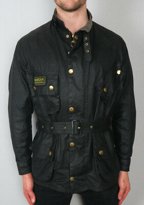 Barbour International Black Wax Waxed Cotton Biker Jacket Coat Size 44 XL