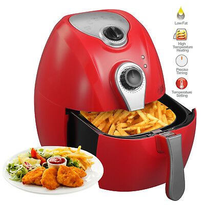 2.7L 1350W Red Electric No Oil Air Fryer Temperature Control Timer Multifunction